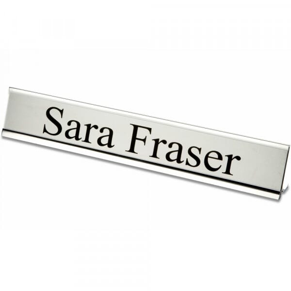 Customised Desk Plate With Holder (200x50mm) - Silver