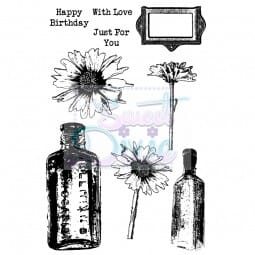 Kath Halstead Designs - Daisy and Bottles Clear Stamp size A6