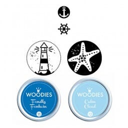 Woodies Kit MARITIM 2 stamps Woodies, 2 stamps Mini-Woodies, 2 inkpads