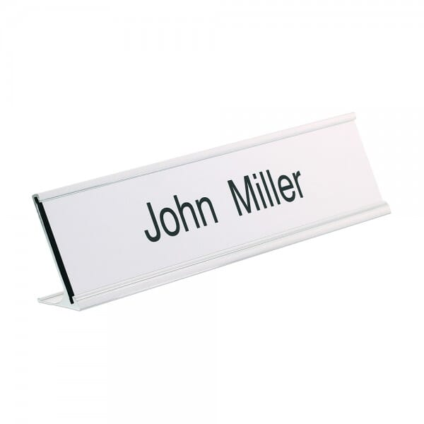 Desk Nameplate engraved - 200 x 50 mm - silver-black