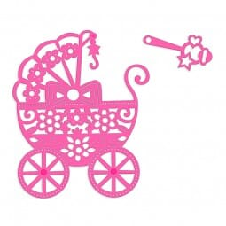 Sweet Dixie Pram & Rattle Die by Sue Dix