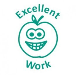 Teachers' Motivation Stamp - EXCELLENT WORK Smiling Apple