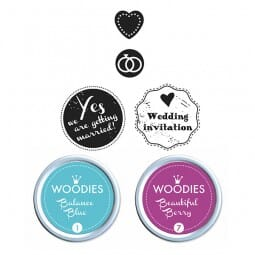Woodies Kit MARIAGE 2 stamps Woodies, 2 stamps Mini-Woodies, 2 inkpads