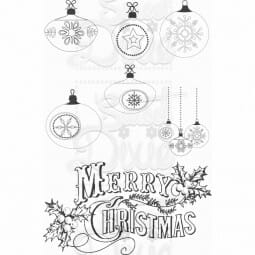 Kath Halstead Designs - Merry Christmas Baubles Clear Stamp A6
