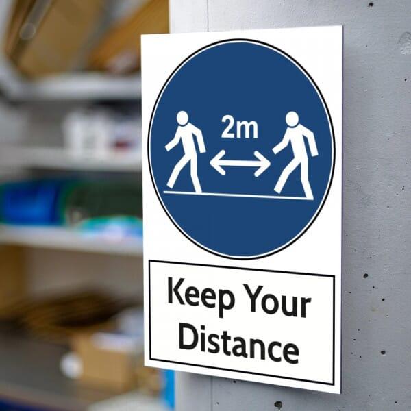 Aluminium Warning Sign - Keep Your Distance (200x300mm)
