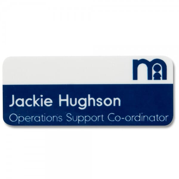 Personalised Name Badge with full colour print - 75 x 40 mm
