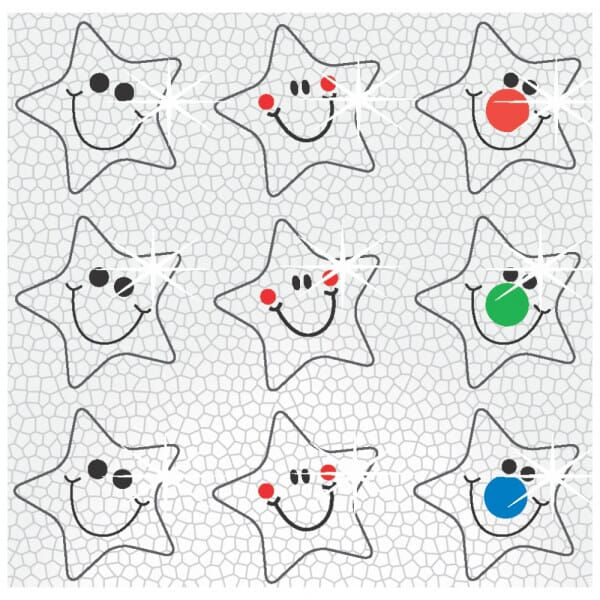 Stickers - Sparkling Smiley shaped stars