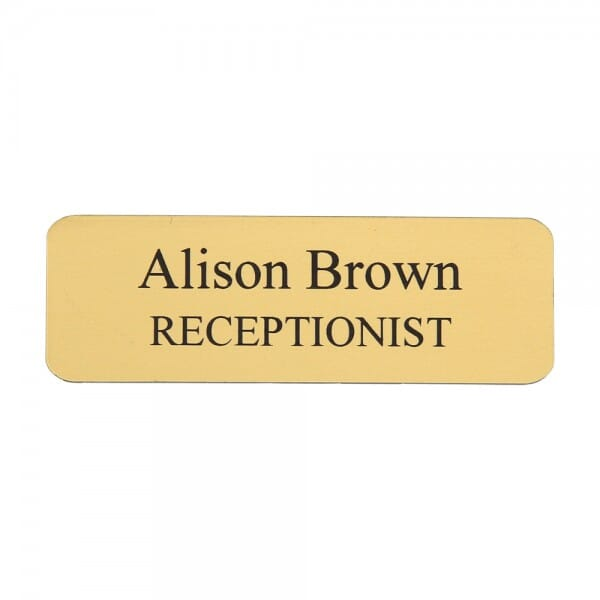 Personalised Name Badge - engraved text - 75 x 25 mm
