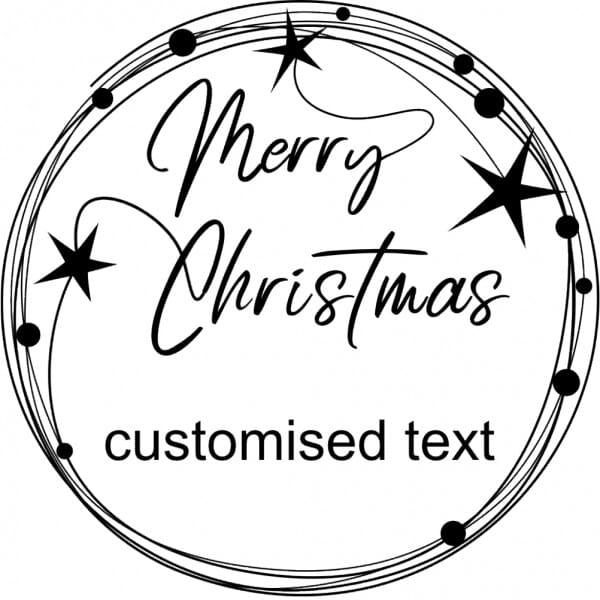 Custom Eco Gift Tag Stamp - Merry Christmas Wreath