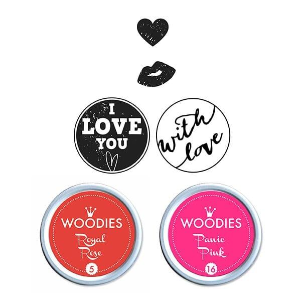 Woodies Kit LOVE 2 stamps Woodies, 2 stamps Mini-Woodies, 2 inkpads