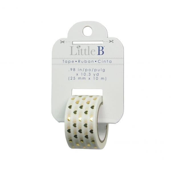 Little B - Gold Foil Hearts 25mm Tape