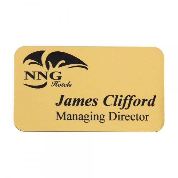 Name Badge - engraved text - 75 x 40 mm