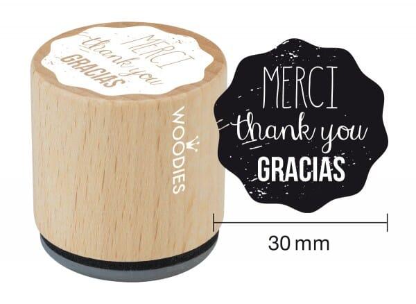 Woodies stamp MERCI thank you GRACIAS
