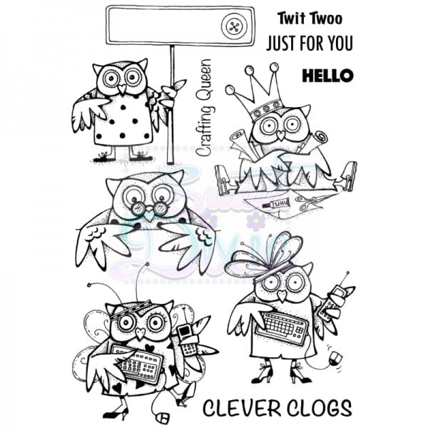 Cathie Shuttlworth Designs - Clever Clogs Owls Clear Stamp A6
