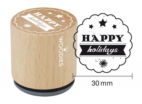 Woodies stamp Happy holidays