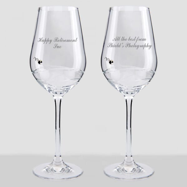 Personalised Retirement Wine Glass Set