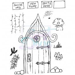 Sweet Dixie - Sweet Dixie Clear Stamp Curly Fairy Door A6