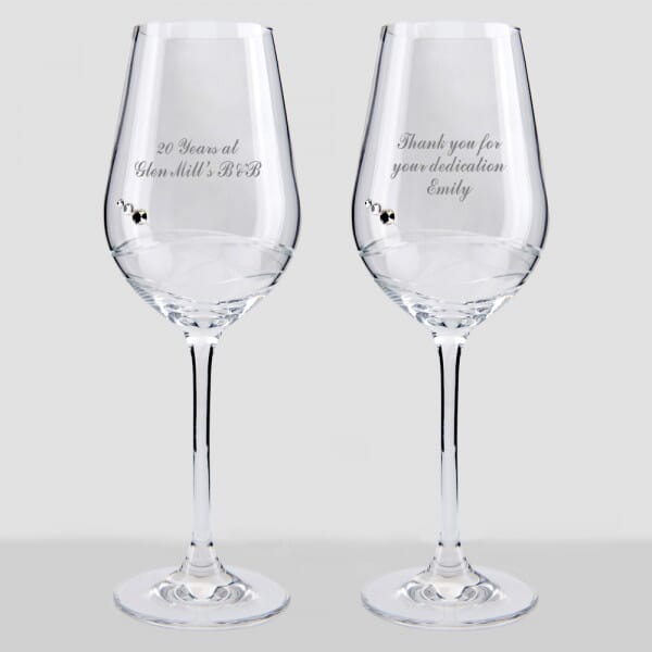 Personalised Service Award Wine Glass Set