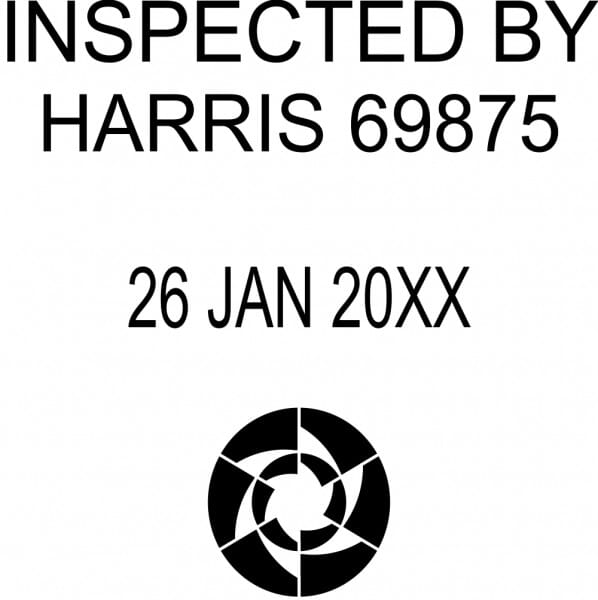 Customised Quality Control Inspection Date Stamp - Inspected By Logo