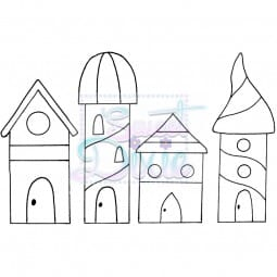 Sweet Dixie - Sweet Dixie Clear Stamp Zendoodle Houses A6