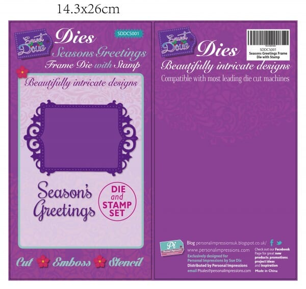 Sweet Dixie Season's Greetings Frame Die with Stamp by Sue Dix