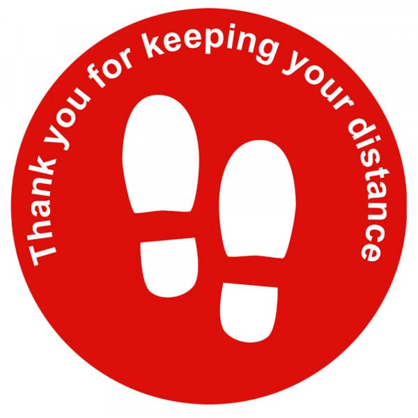 Social Distance Floor Marker - Red Circle Thank You (400x400mm)
