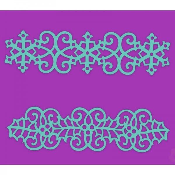 Sue Dix Designs - Swirling Holly & Snowflake Border Stencil