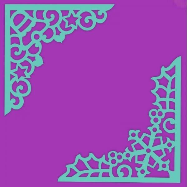 Sue Dix Designs - Snowflake & Bell Corner Stencil