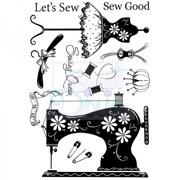 Cathie Shuttlworth Designs - Let's Sew Clear Stamp A6
