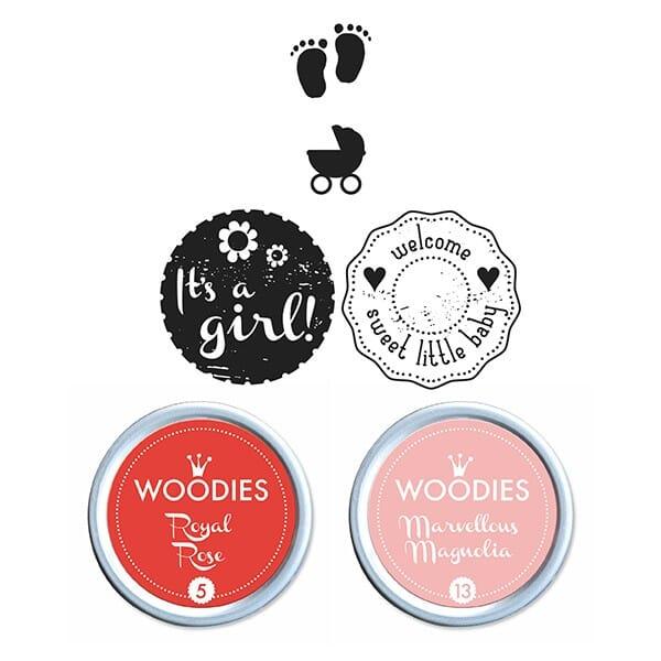 Woodies Kit BABY GIRL 2 stamps Woodies, 2 stamps Mini-Woodies, 2 inkpads