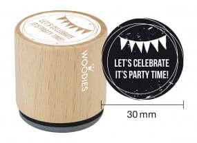Woodies stamp Let's celebrate It's party time