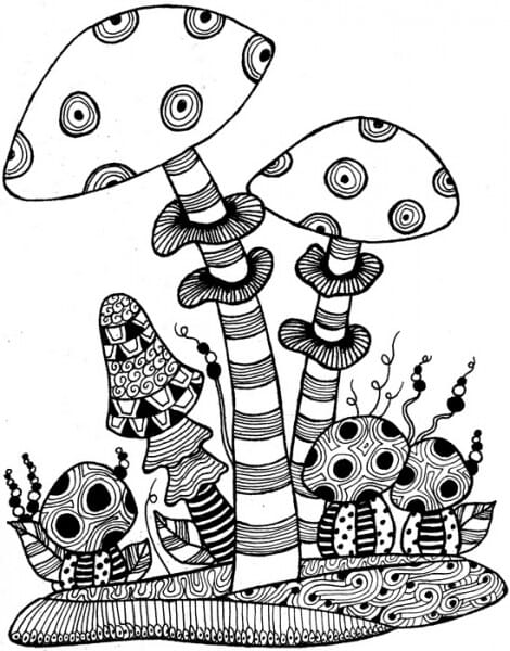 Lindsay Mason Designs - Zendoodles Mushrooms Ready To Go Clear Stamp