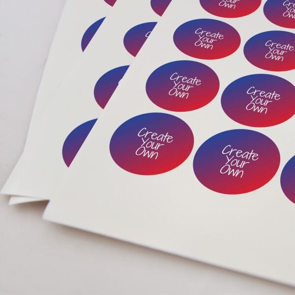 Round Vinyl Customised Stickers – Printed White 25mm Dia