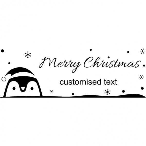 Custom Eco Gift Tag Stamp - Merry Christmas Penguin Design