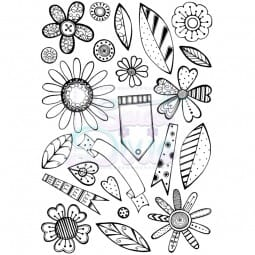 Cathie Shuttlworth Designs - Retro Flowers Clear Stamp A6