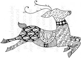 Lindsay Mason Designs - Zendoodle Reindeer Ready To Go A6 Clear Stamp