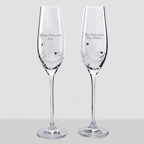 Personalised Retirement Champagne Flutes