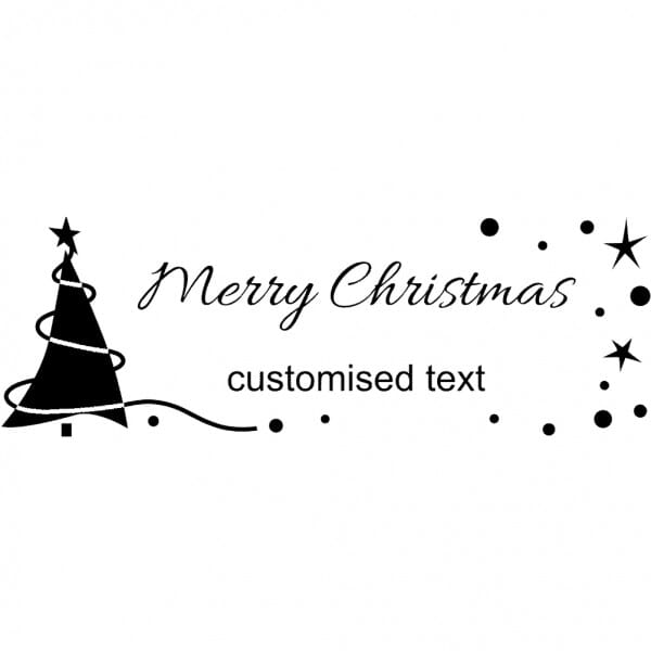Custom Eco Gift Tag Stamp - Merry Christmas Tree Design