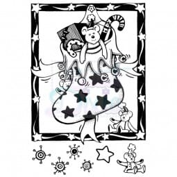 Cathie Shuttleworth Designs - Teddies Christmas Stocking Clear Stamp A6